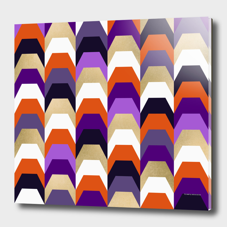 Stacks of orange and purple