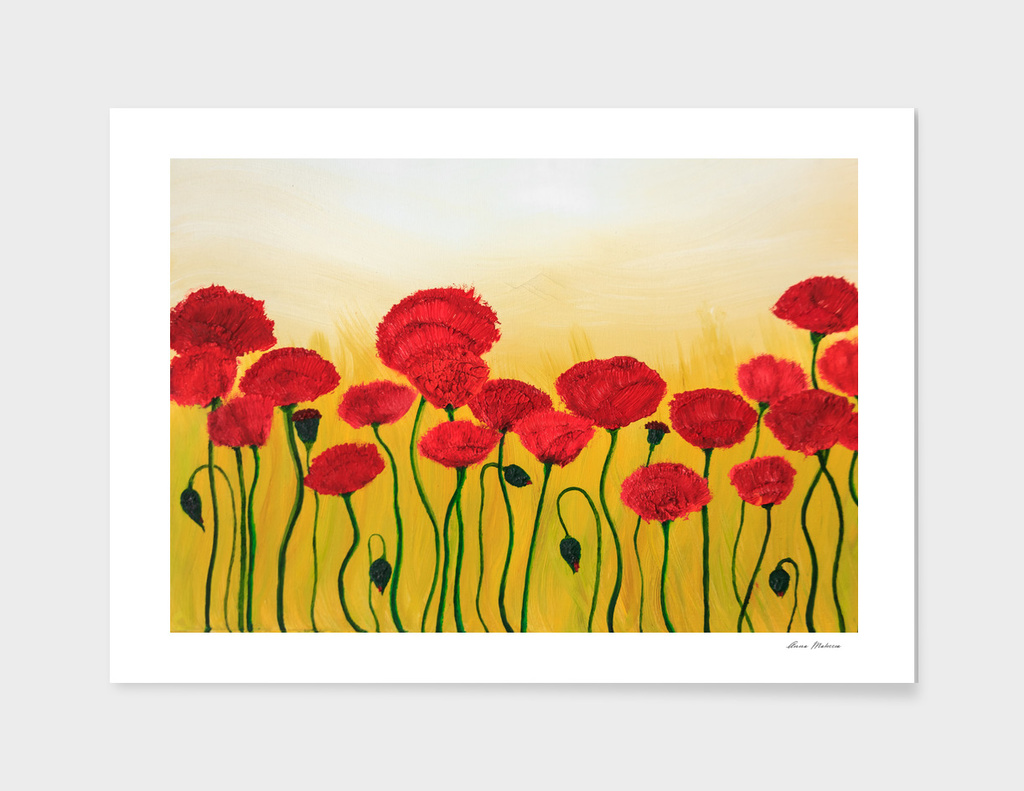 Abstraction Red Poppies Yellow Background