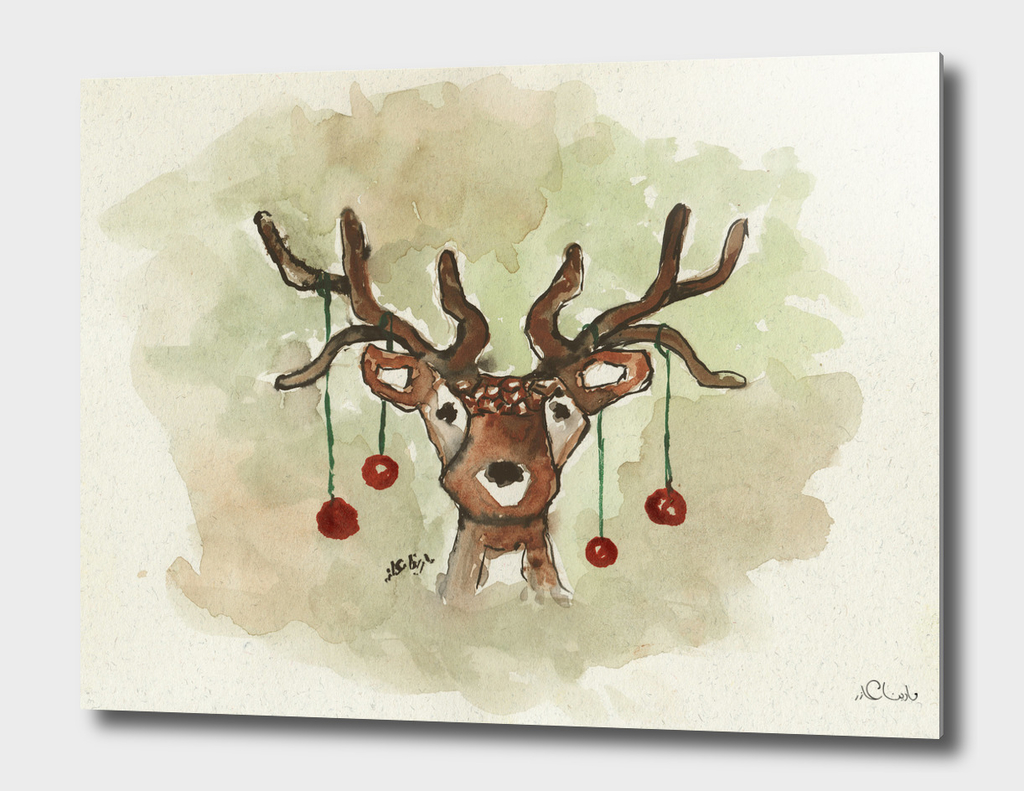 Christmas Deer Watercolor Painting