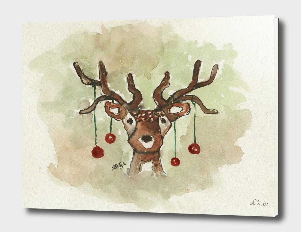 Christmas Deer Watercolor Painting
