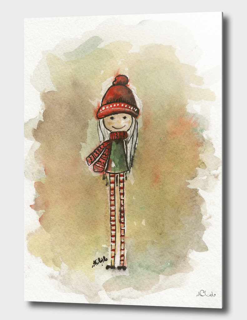 Tall Girl Watercolor Painting