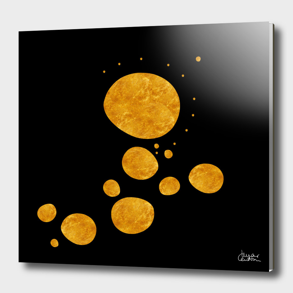 """Golden dots & black background"""