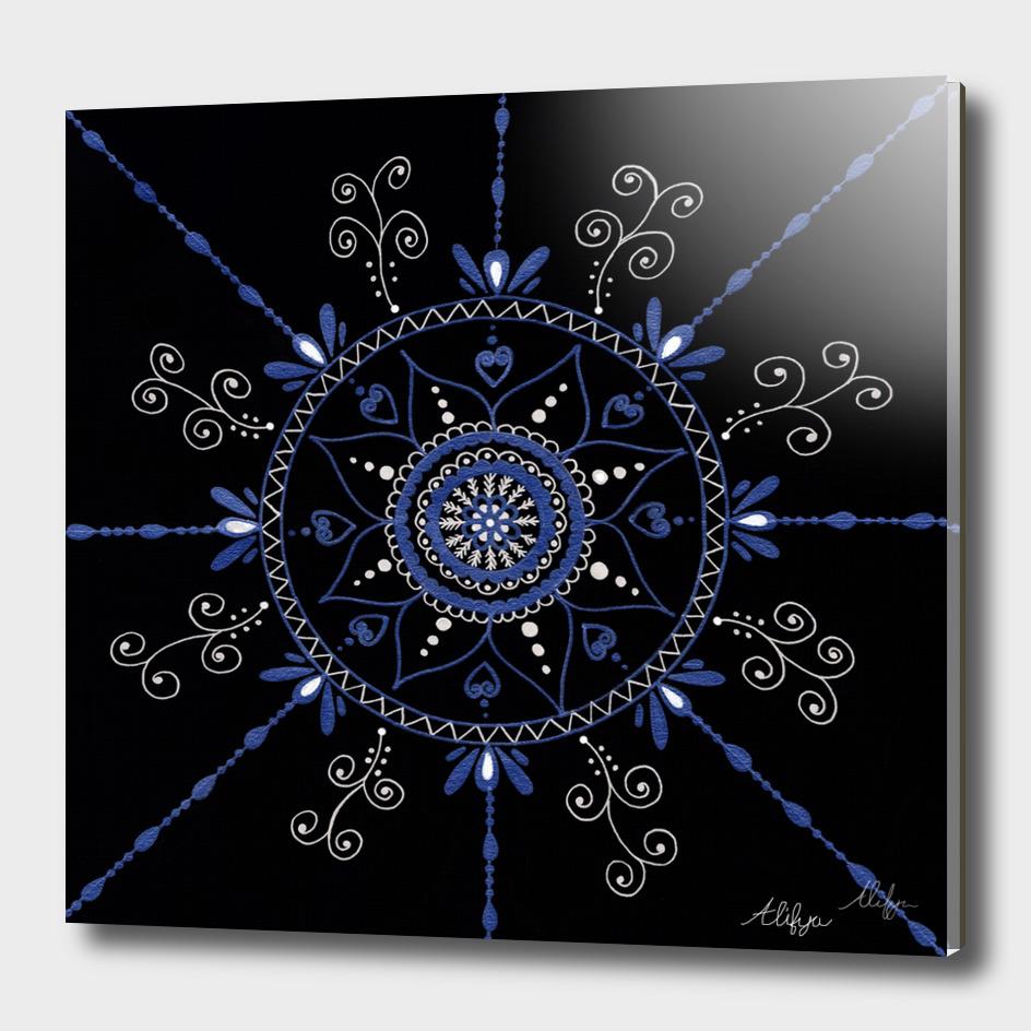Blue and Black Mandala