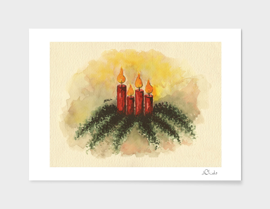 Candles Watercolor Painting
