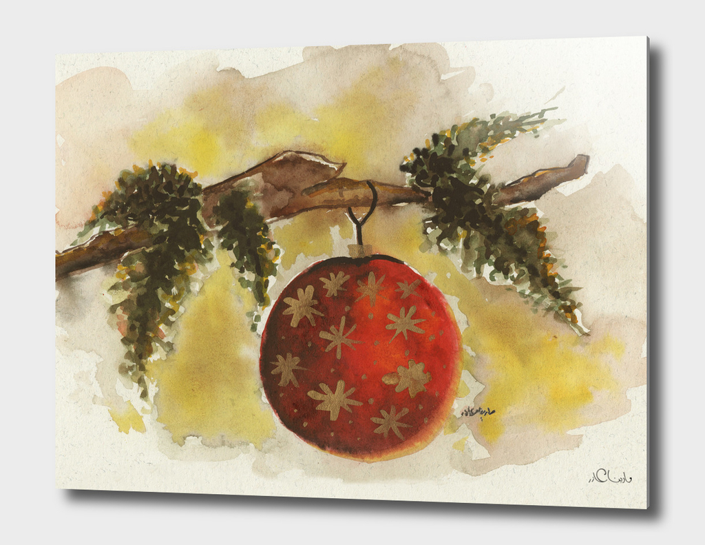 Christmas Ball Watercolor Painting
