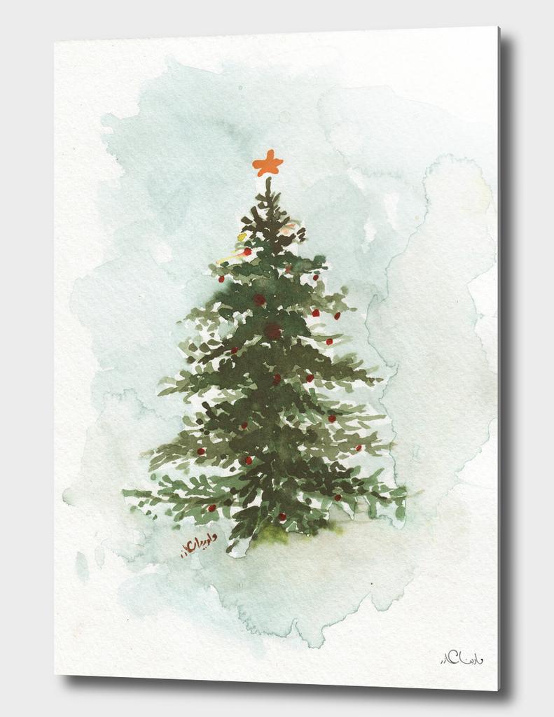 Christmas Tree Watercolor Painting