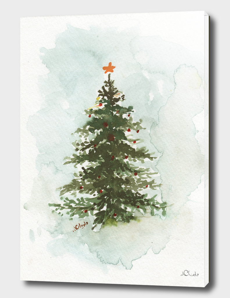 Christmas Tree Watercolor Painting