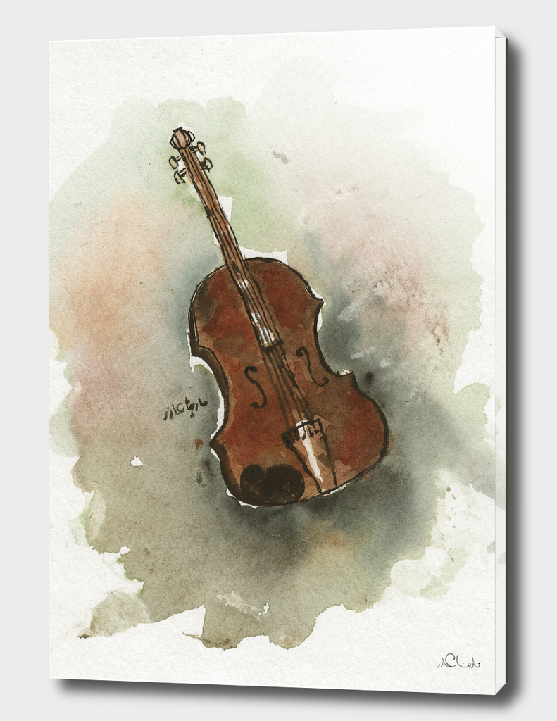 Violin Watercolor Painting