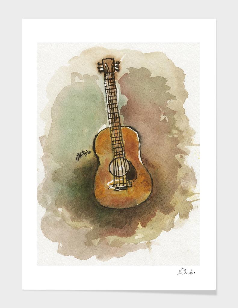 Guitar Watercolor Painting