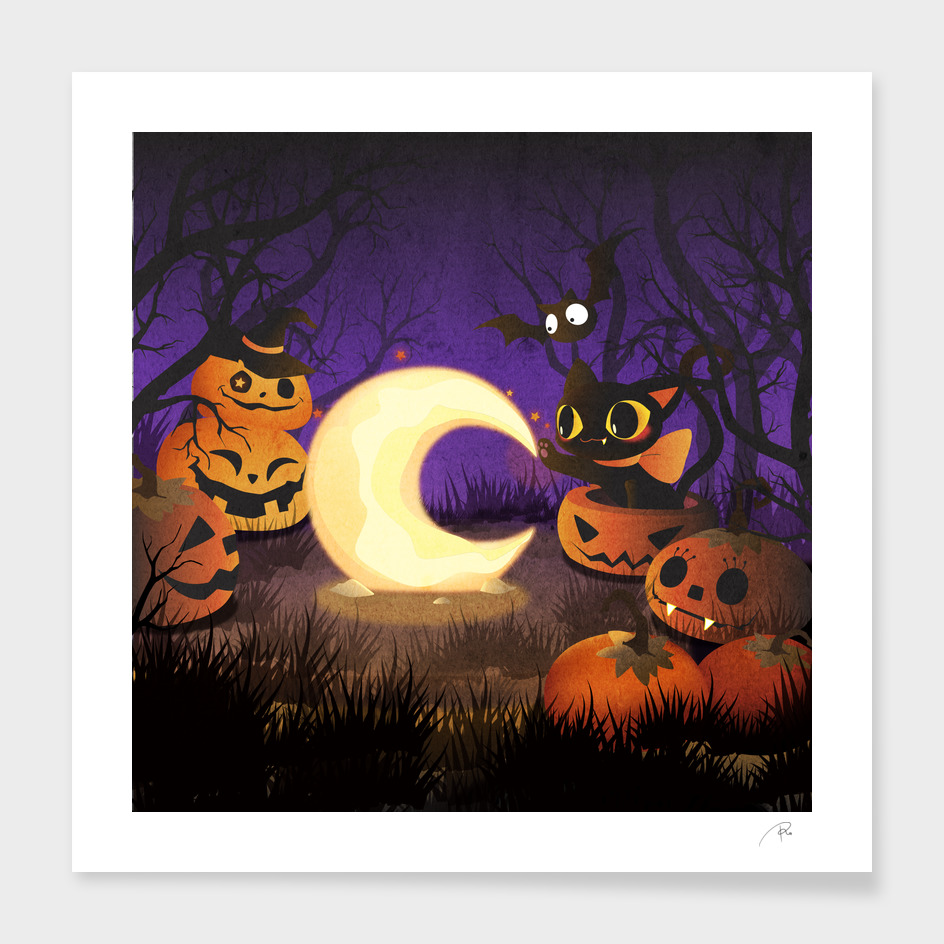 Halloween Kitten With Moon