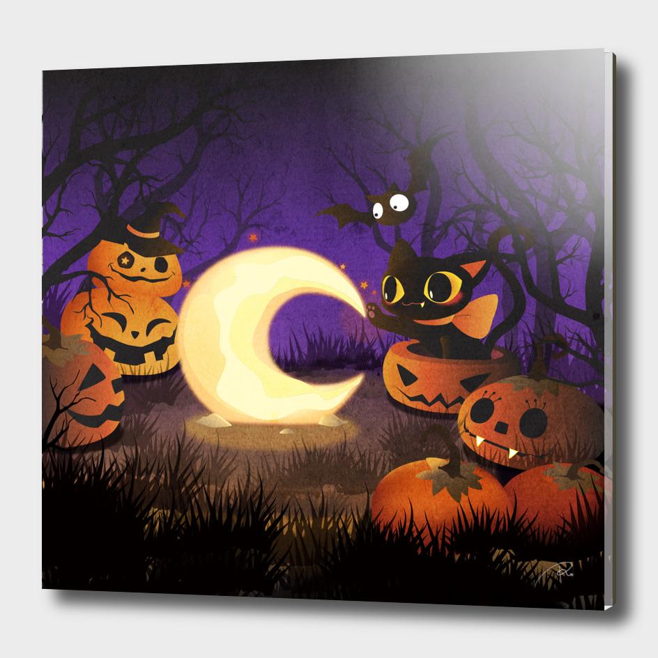 Halloween Kitten With Moon
