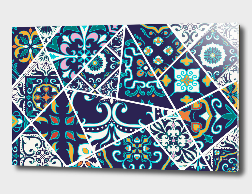 Mosaic patchwork pattern with eastern ornament
