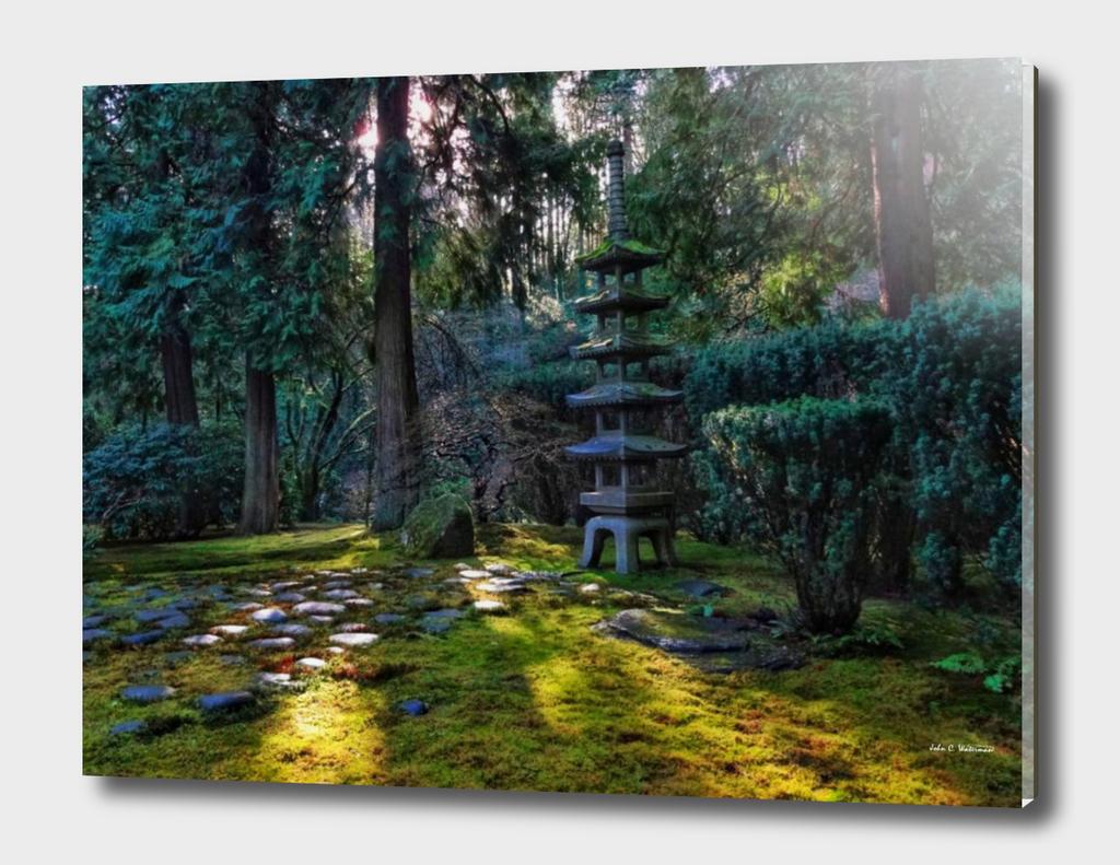 Japanese Five Tier Stone Lantern
