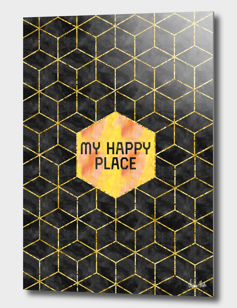 GRAPHIC ART GOLD My happy place | black & golden