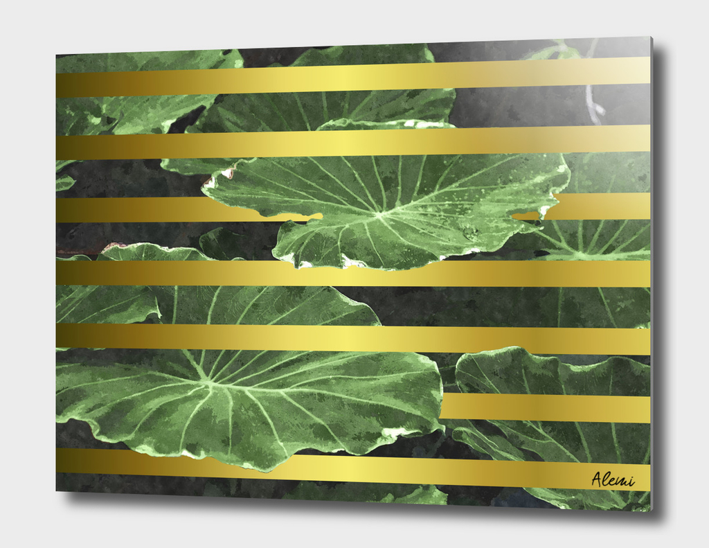 Green Leaves and Gold Stripes