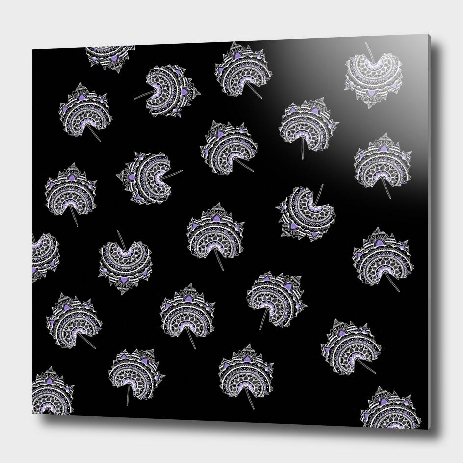 Ultra-Violet and Black Maple Leaf Pattern