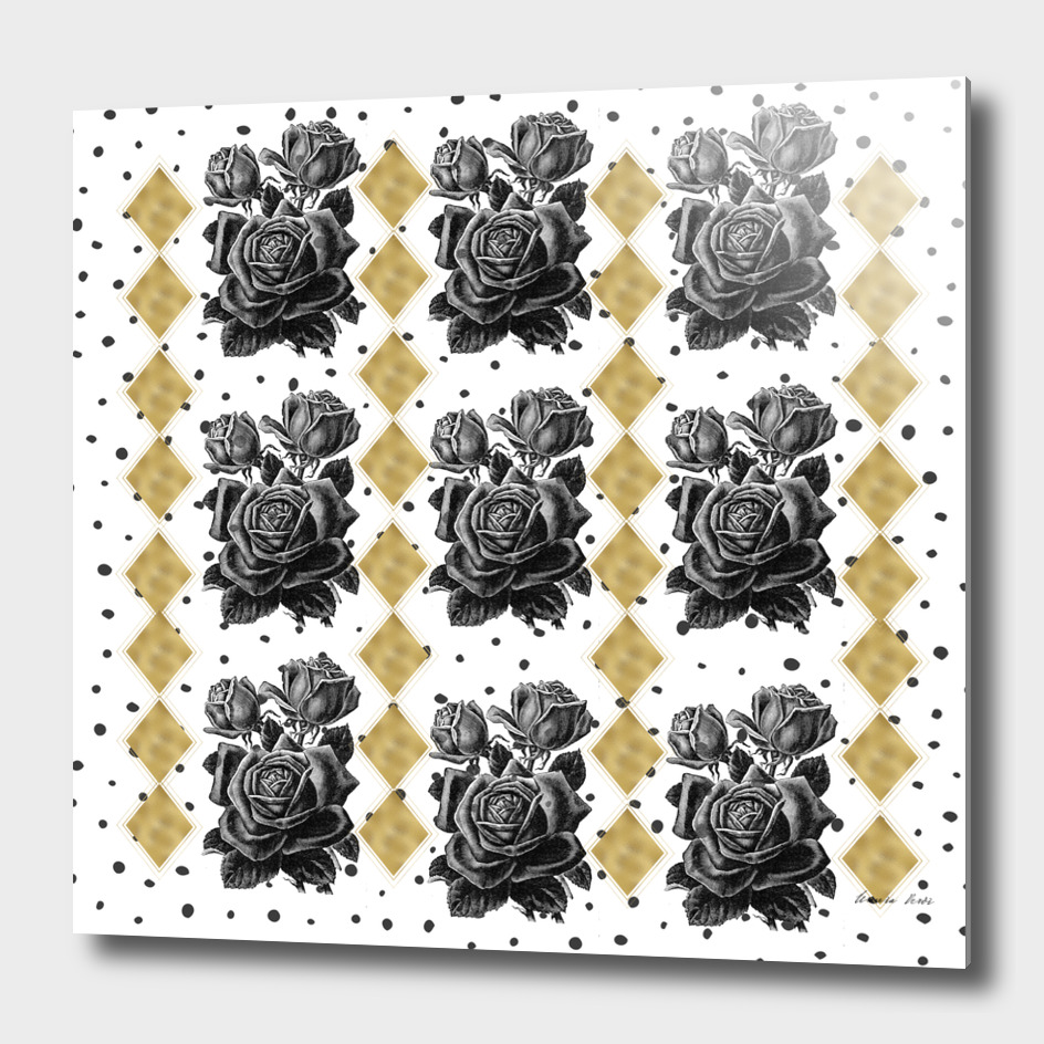 Black Rose and Diamond golden shapes