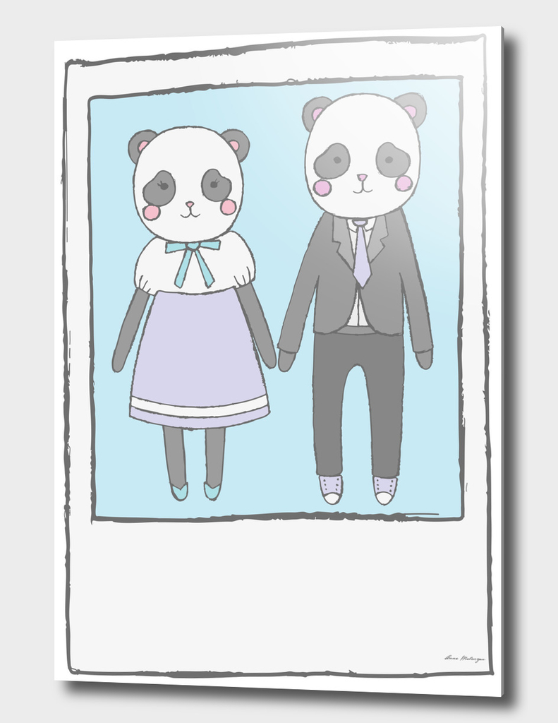 Pandas in love, with true love text