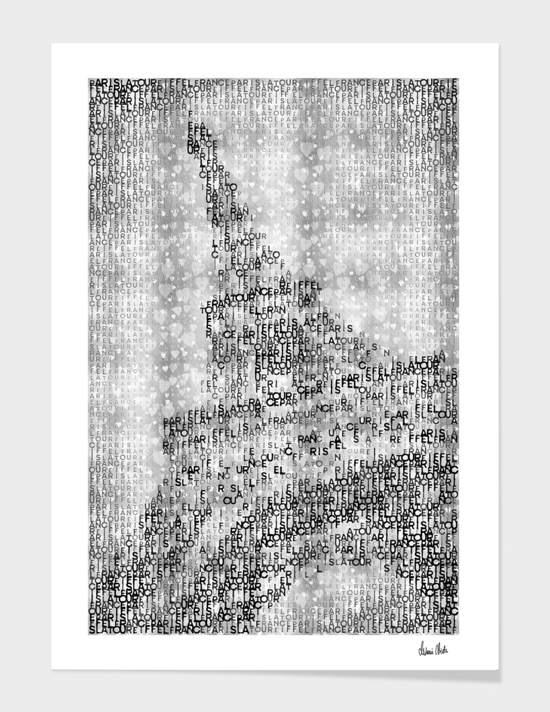 Typographic Art | PARIS Eiffel Tower | silver & hearts