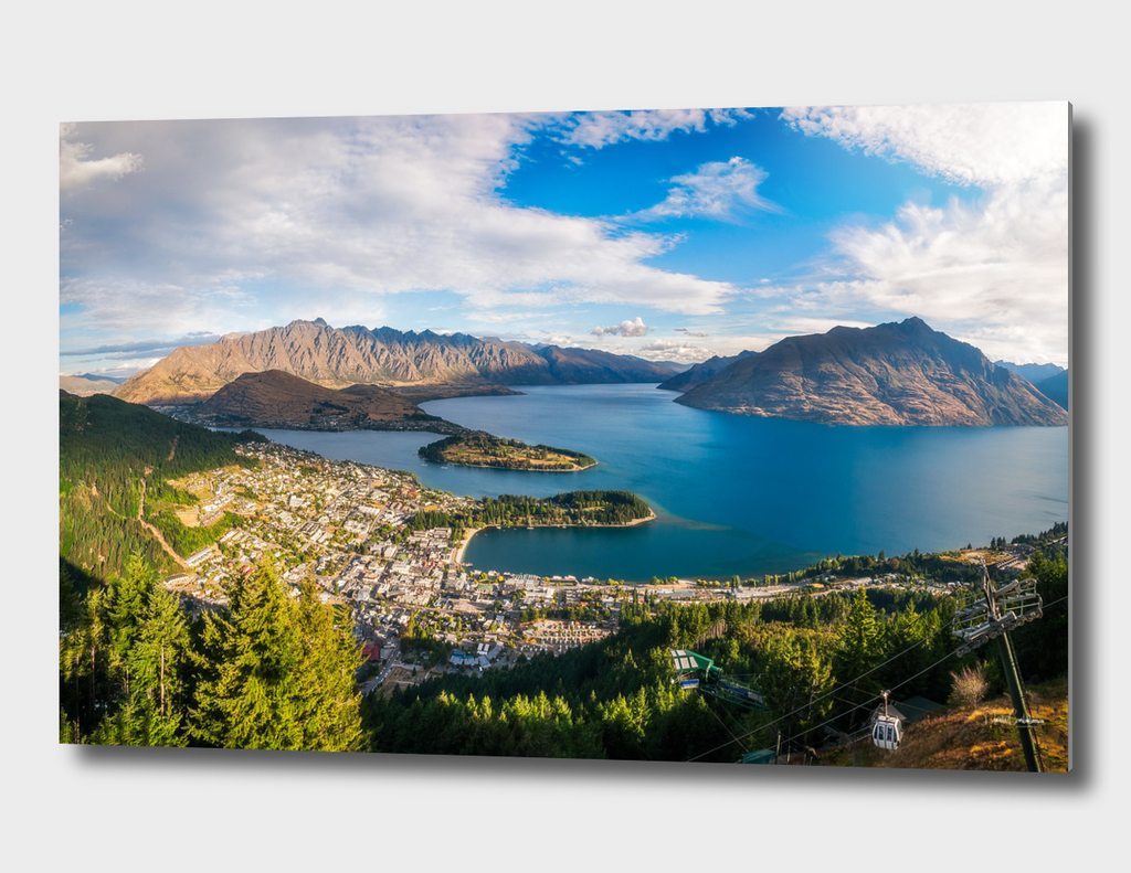 Queenstown Panorama at golden hour, New Zealand.