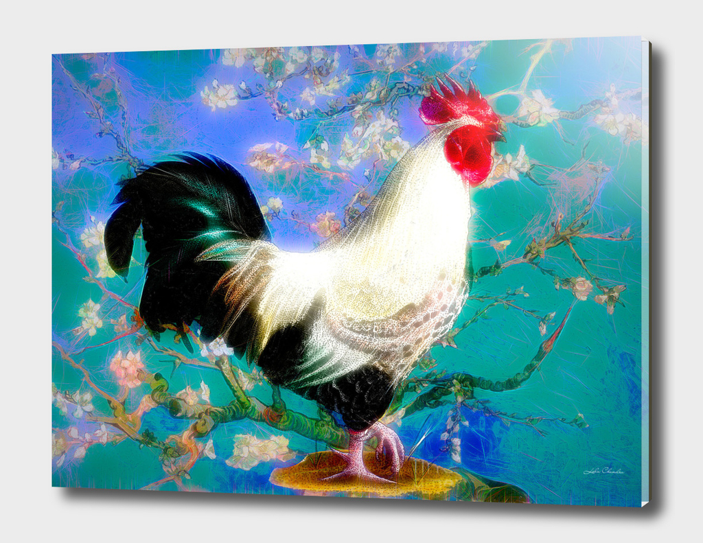 Provencal cock against the background of Van Gogh