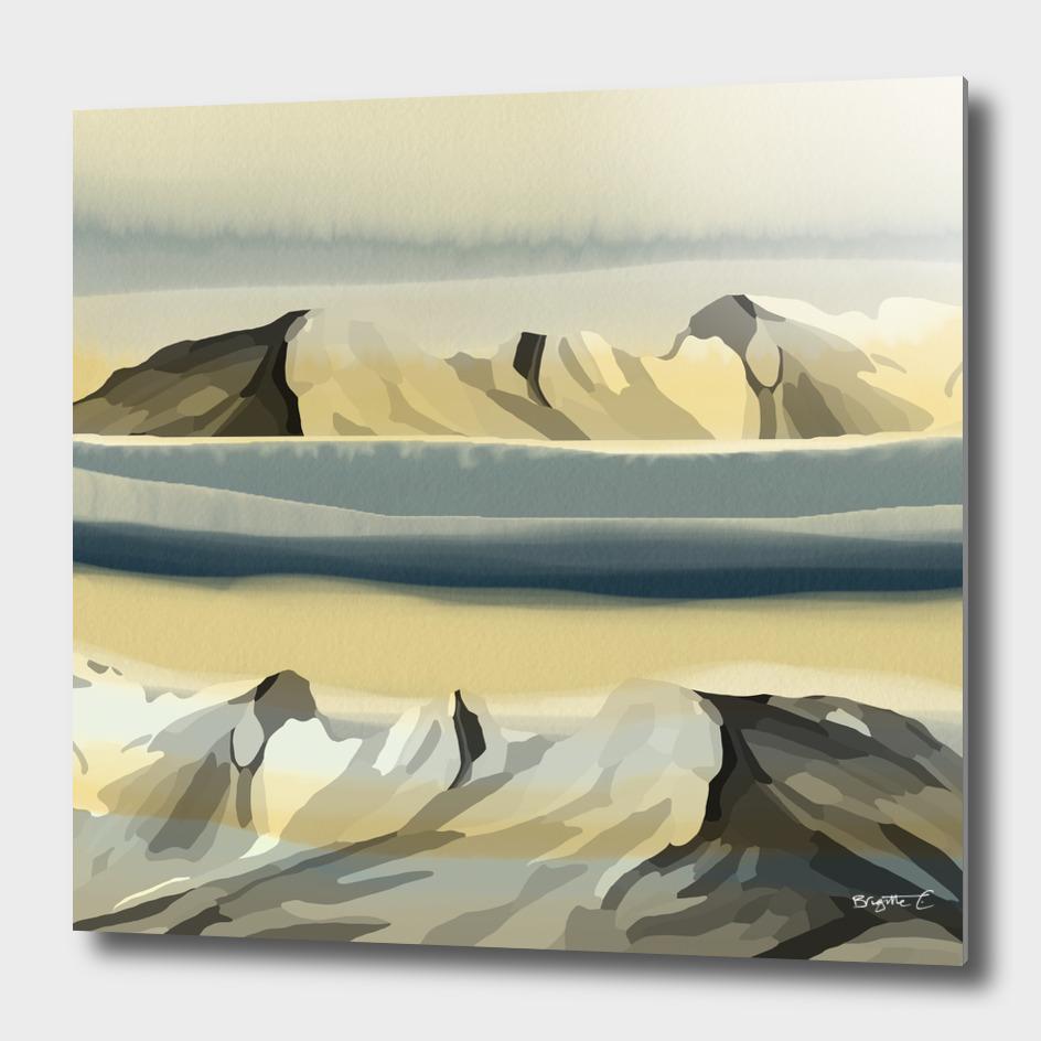 Dreamy Mountains Landscape Watercolor Effect Design