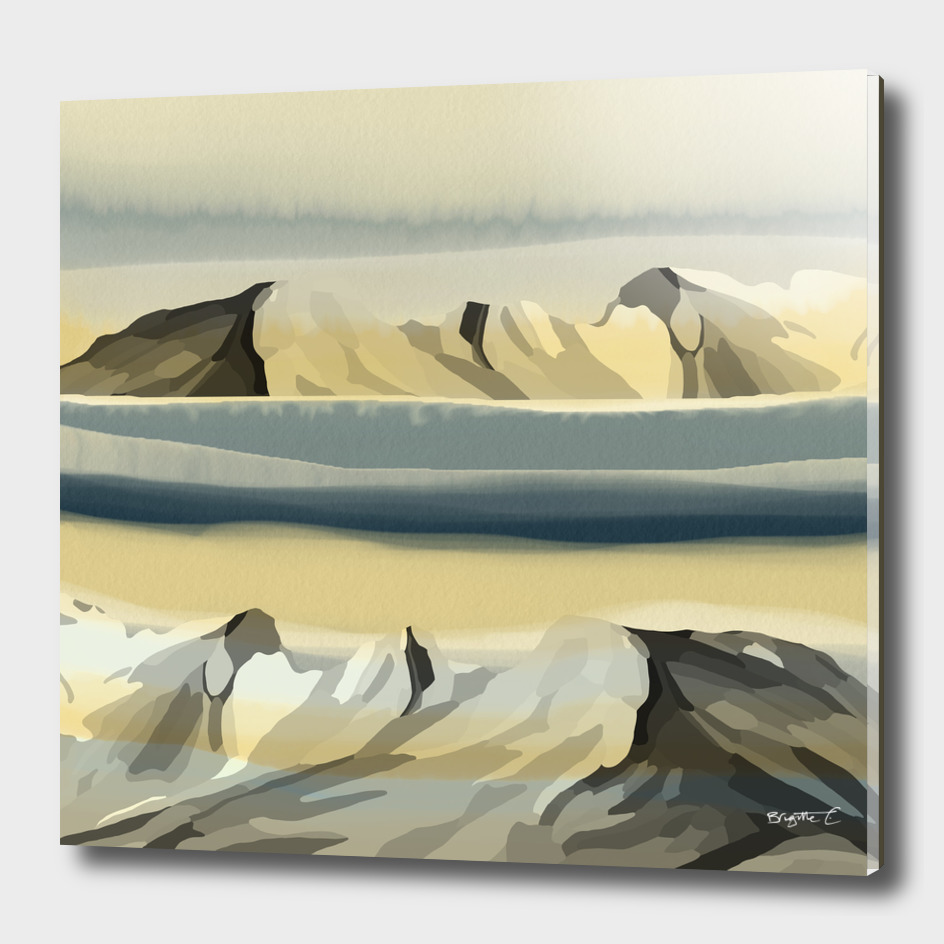 Dreamy Mountains Landscape Watercolor Effect Design