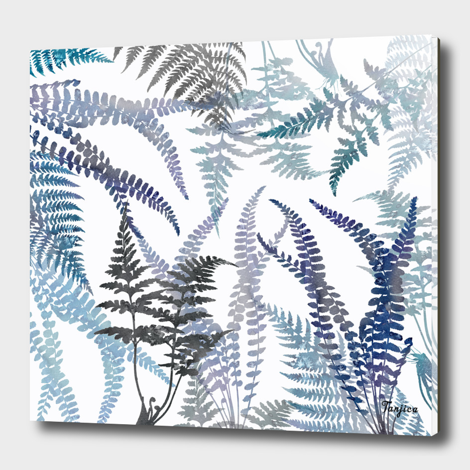 Lush Ferns in Blue