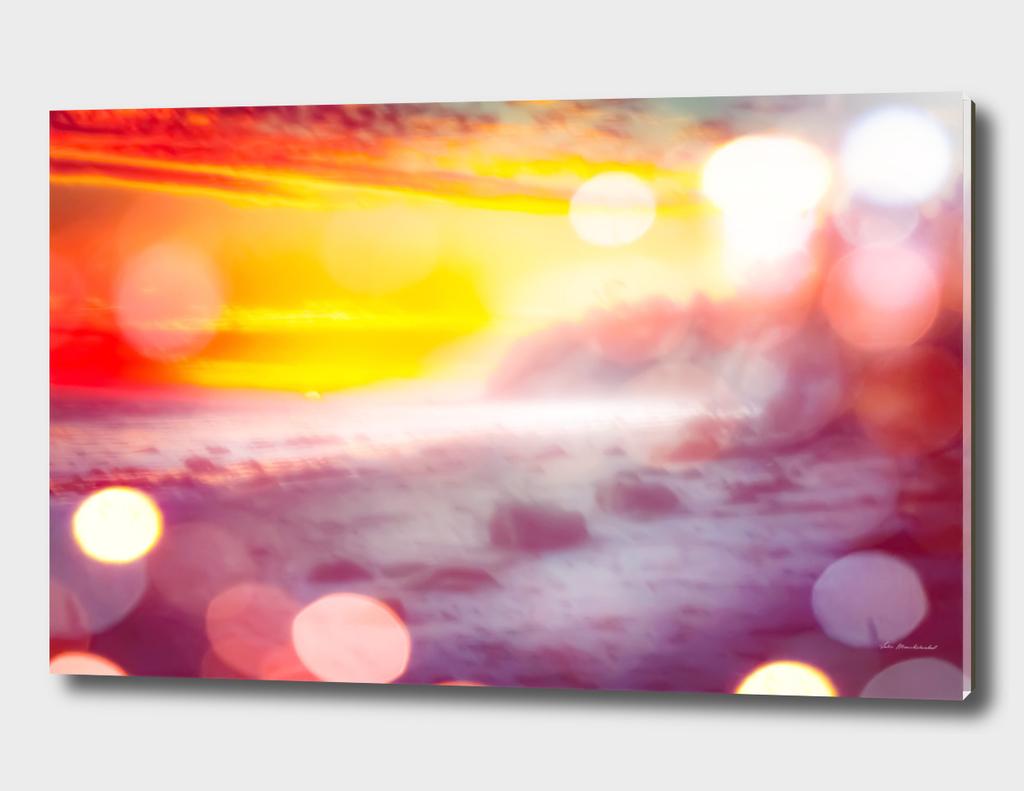 sandy beach with summer sunset sky in California, USA