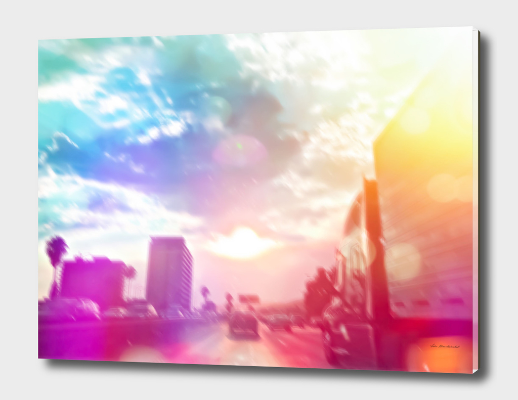 road in the city with blue cloudy sky