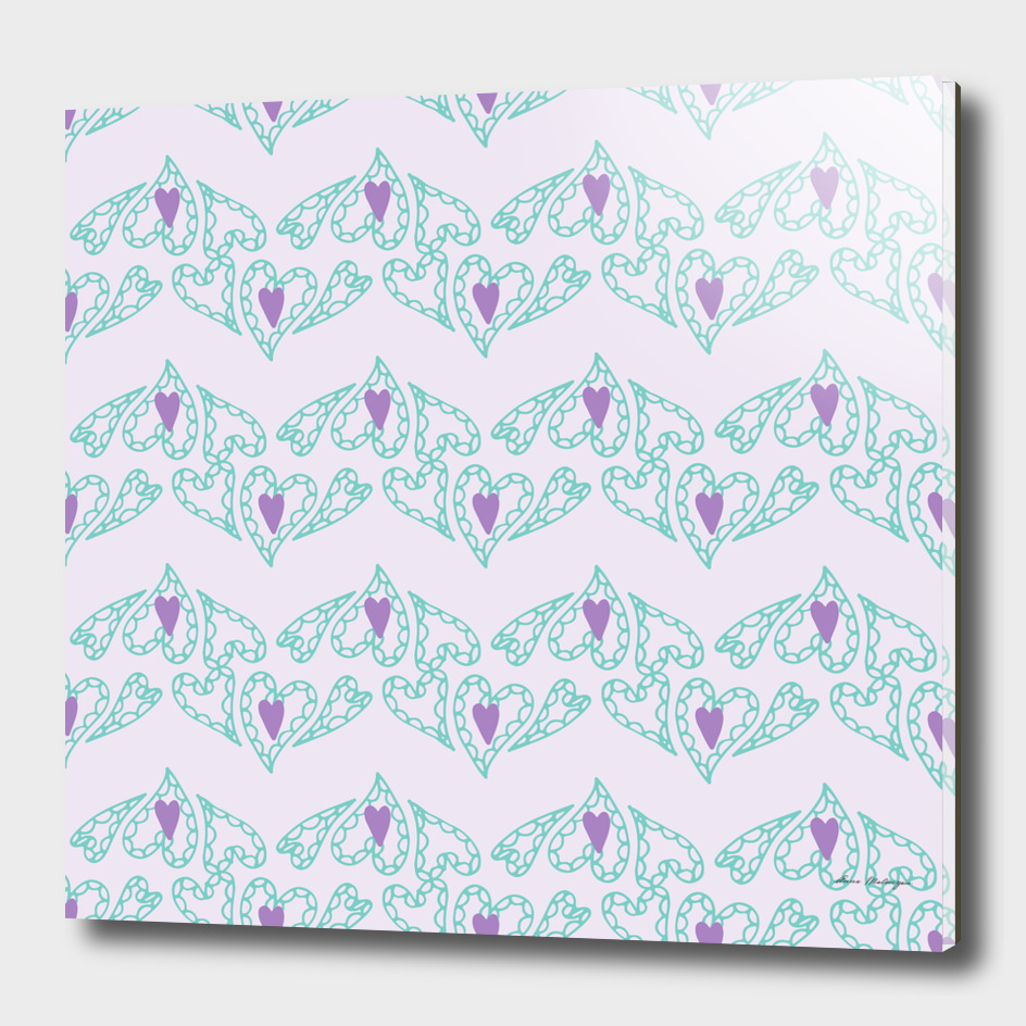 Seamless patterns with hearts on pink background