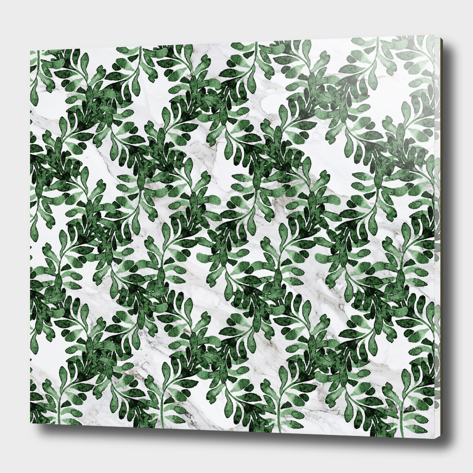 Emerald Green | Leaves on marble