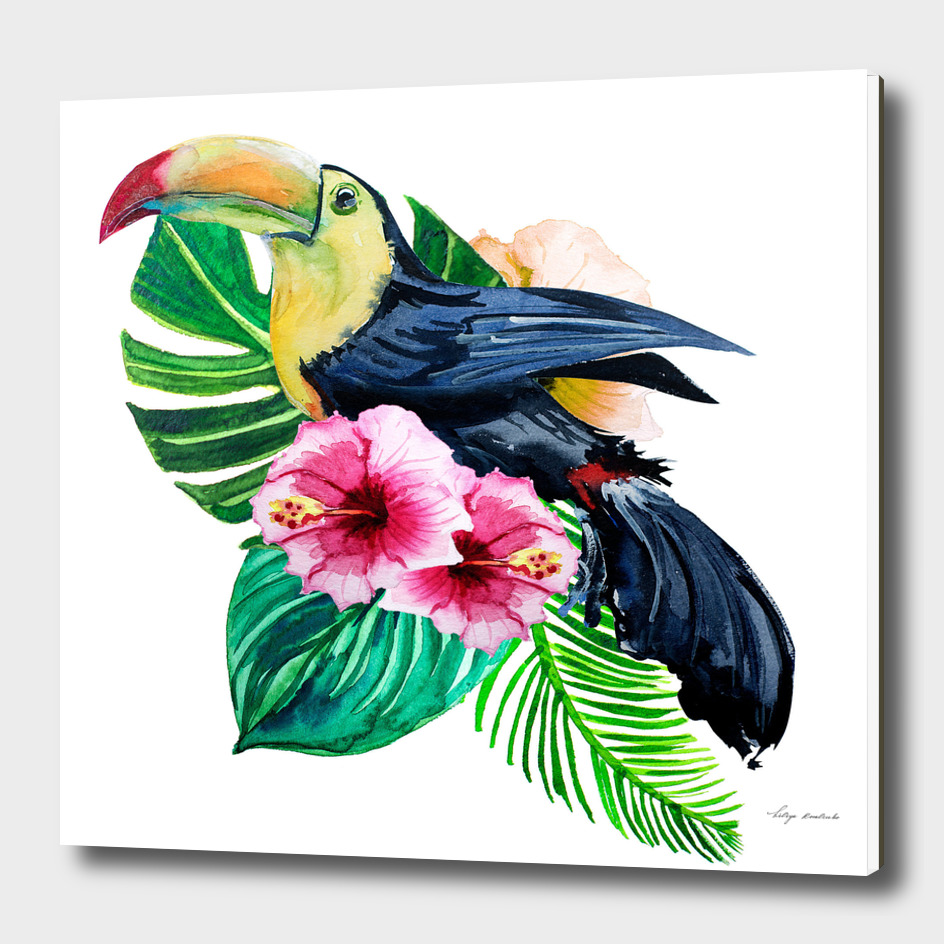 Tropical leaves with flowers and bird toucan watercolor