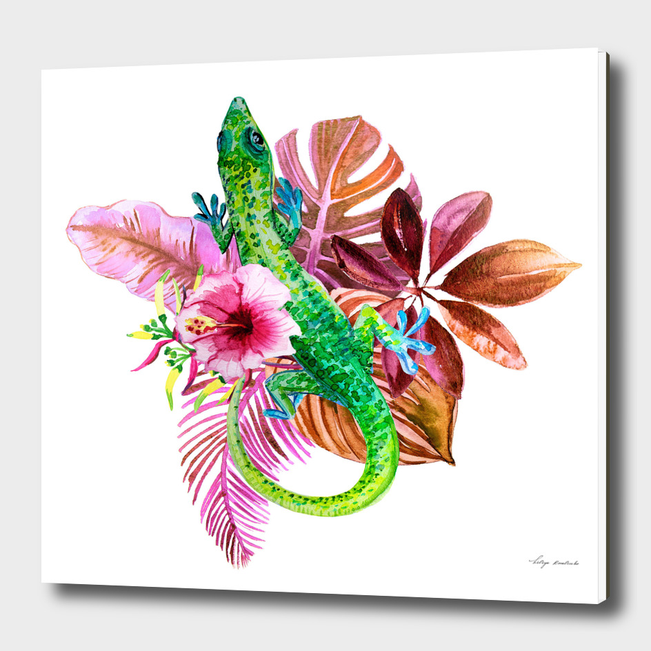 tropical leaves with flowers, lizard salamander watercolor