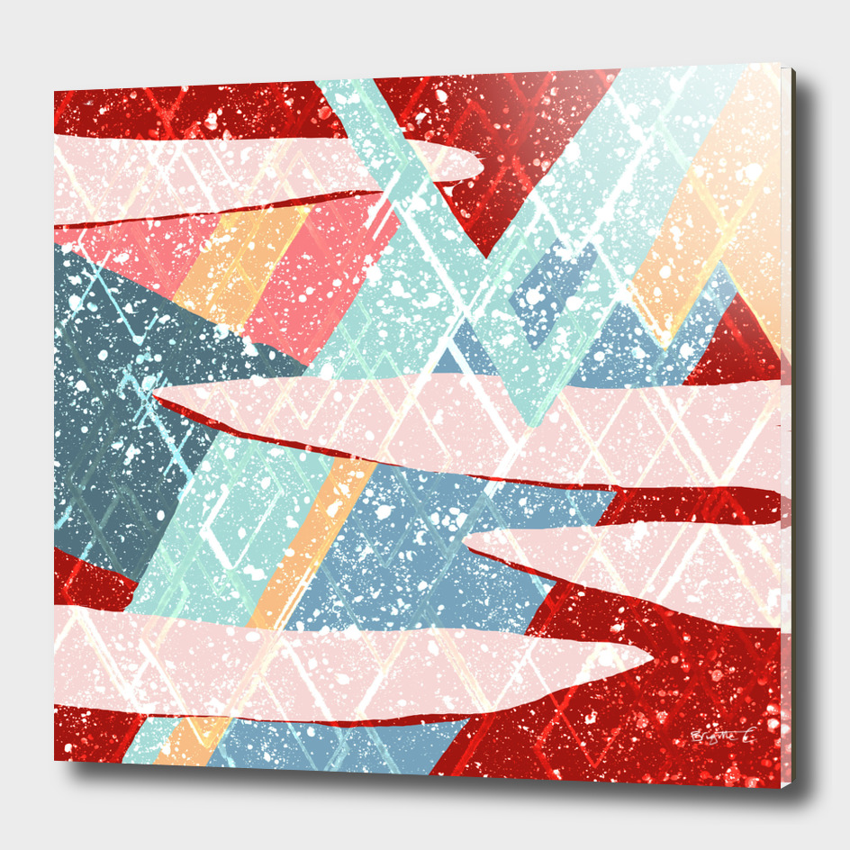 Abstract Splash Geometric Mountains in Clouds Design