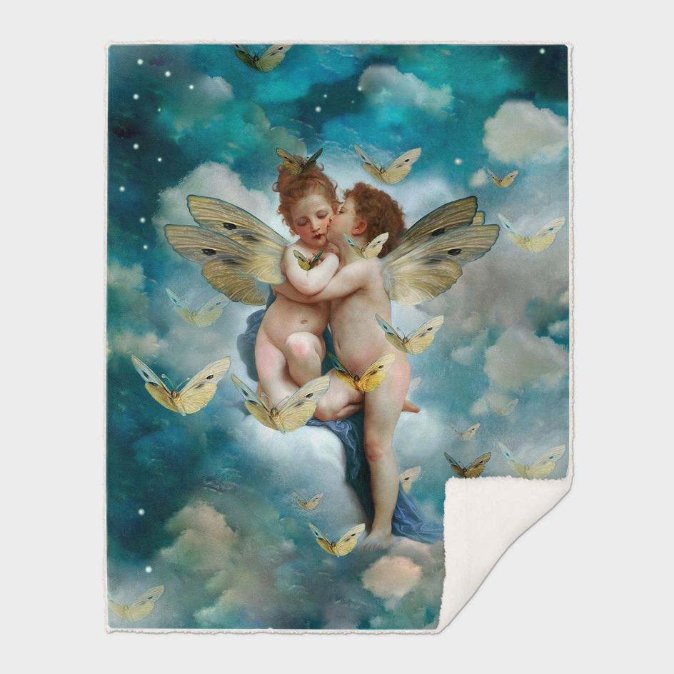 """Angels in love in heaven with butterflies"""