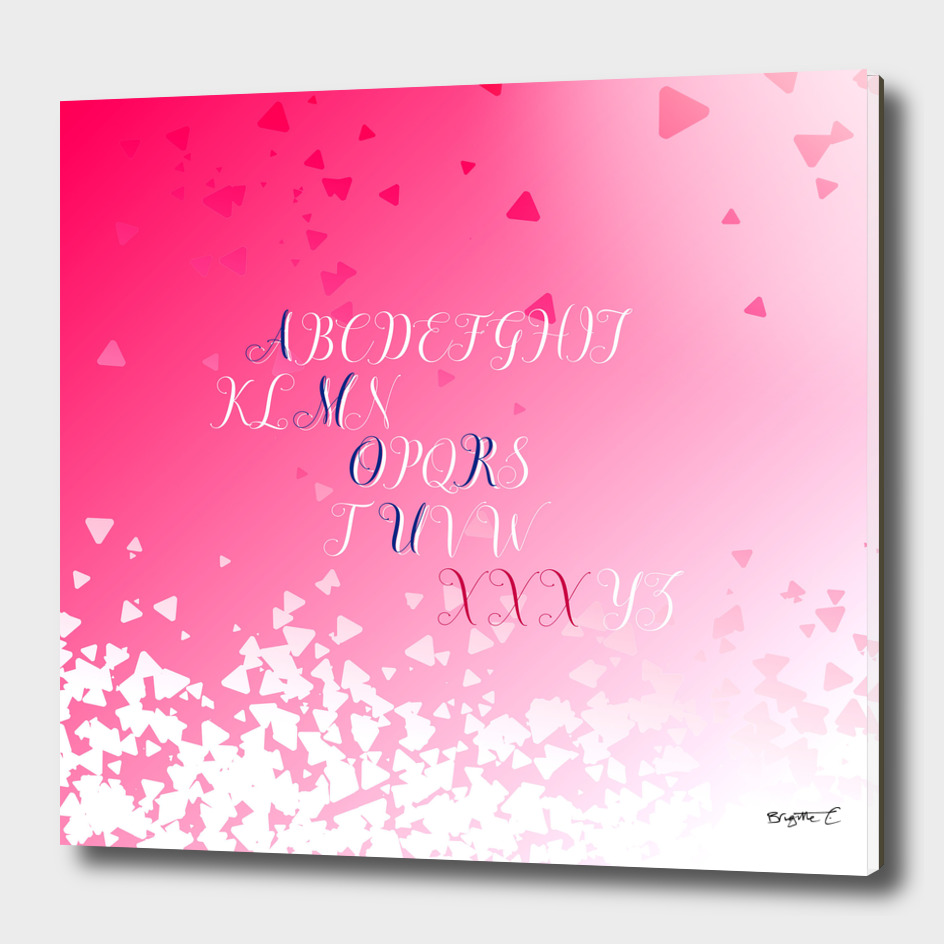 Amour Alphabet Love Rose Pink Glitter Design
