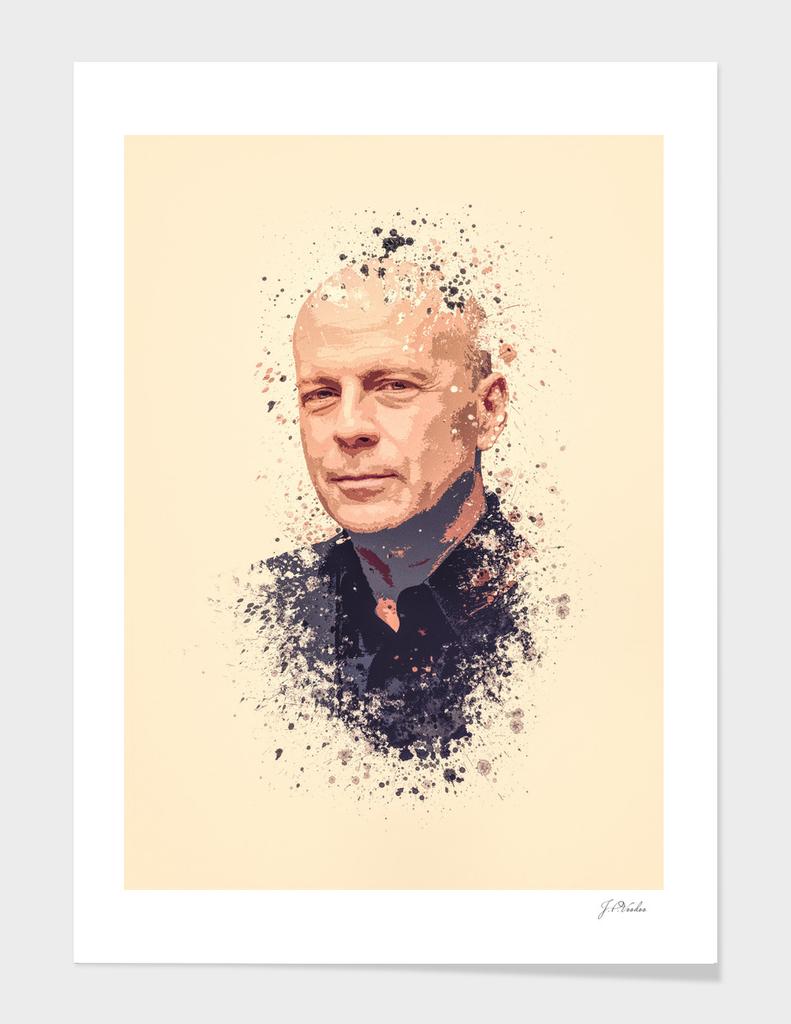 Bruce Willis splatter painting