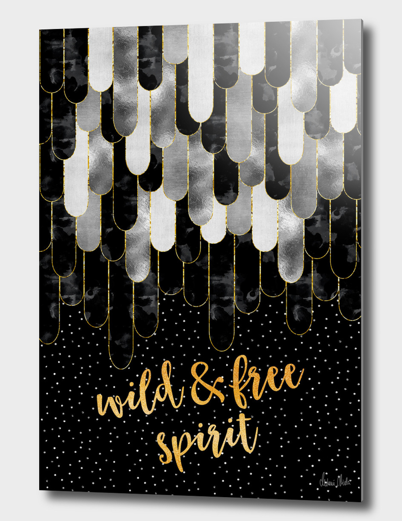 Graphic Art Feathers WILD & FREE SPIRIT | black