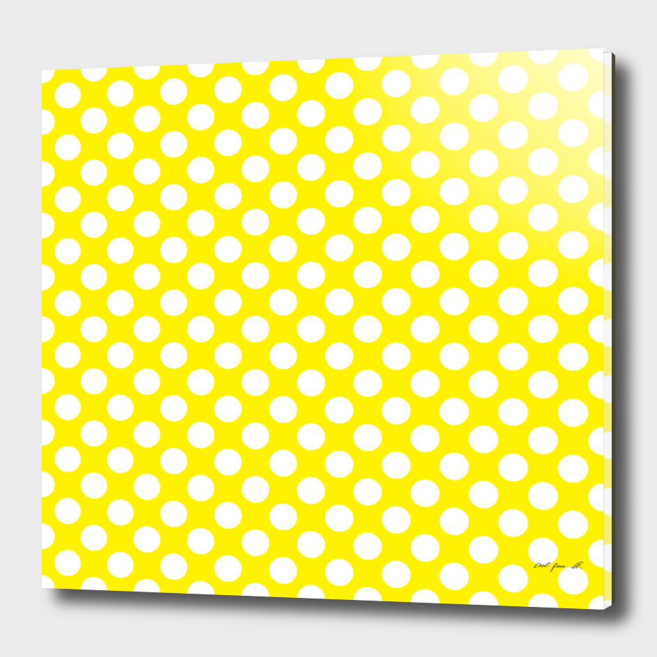 White Polka Dots with Yellow Background