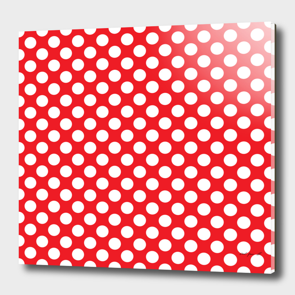 White Polka Dots with Red Background