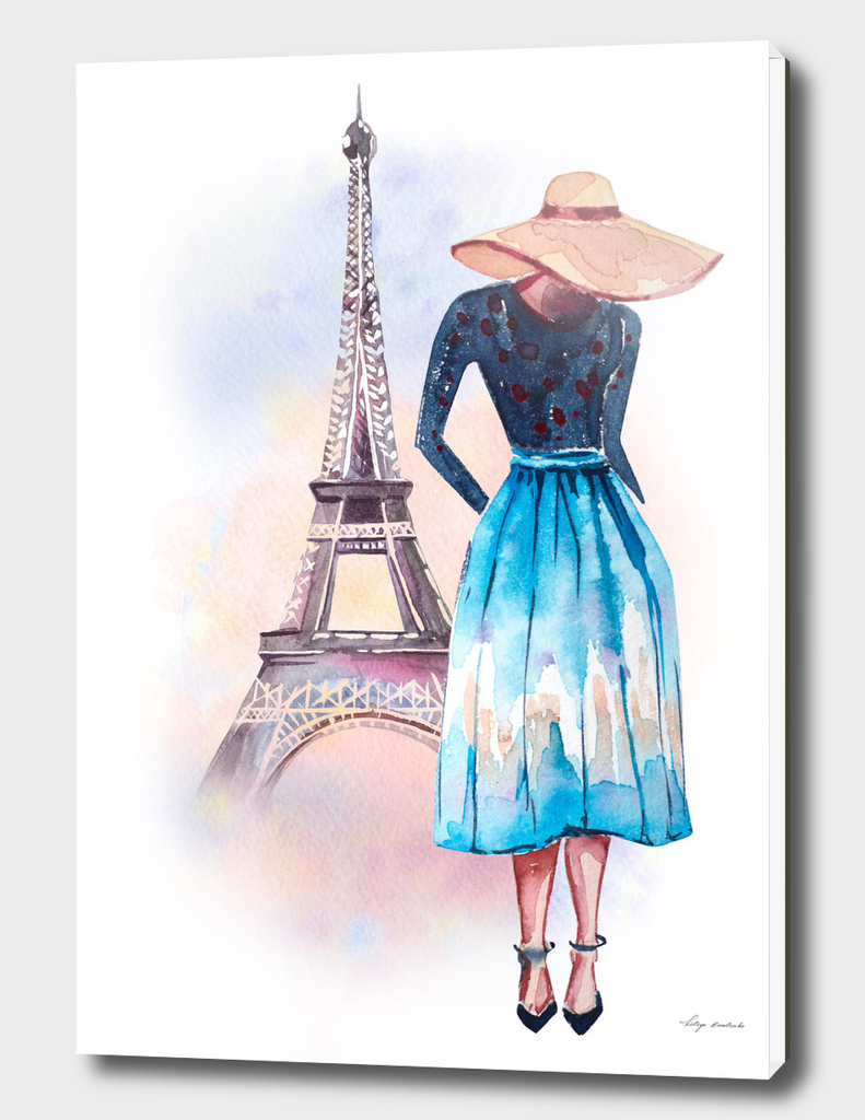 girl Paris watercolor