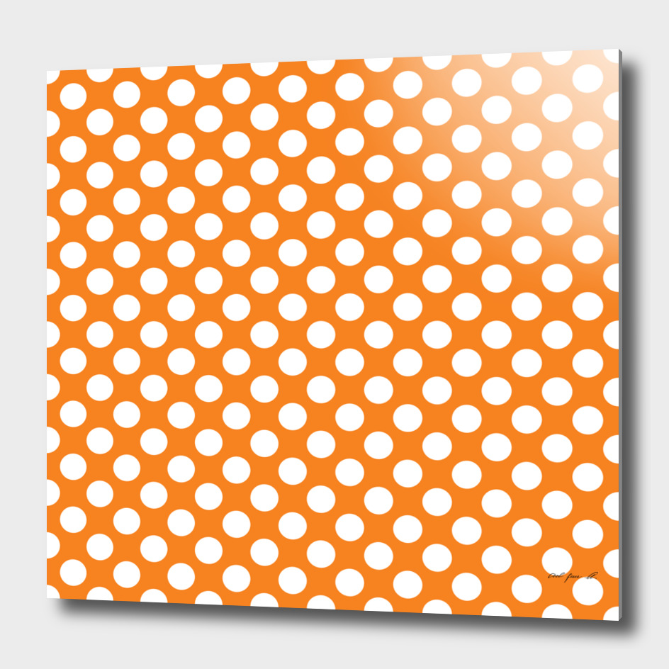 White Polka Dots with Orange Background