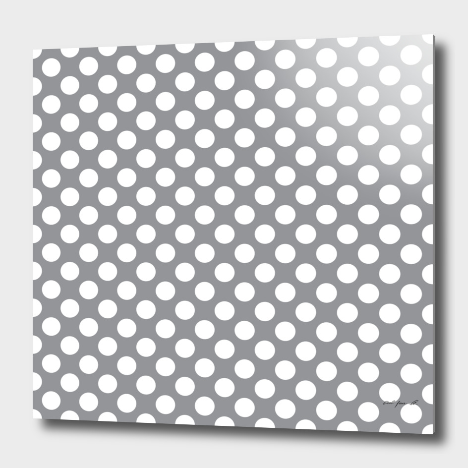 White Polka Dots Grey with Background