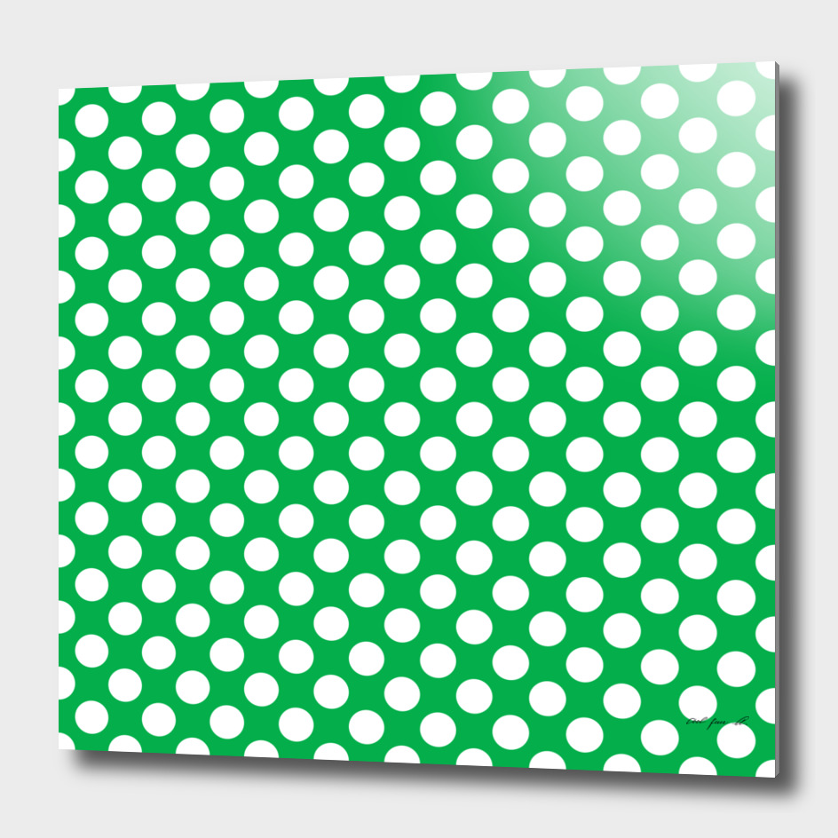 White Polka Dots with Green Background