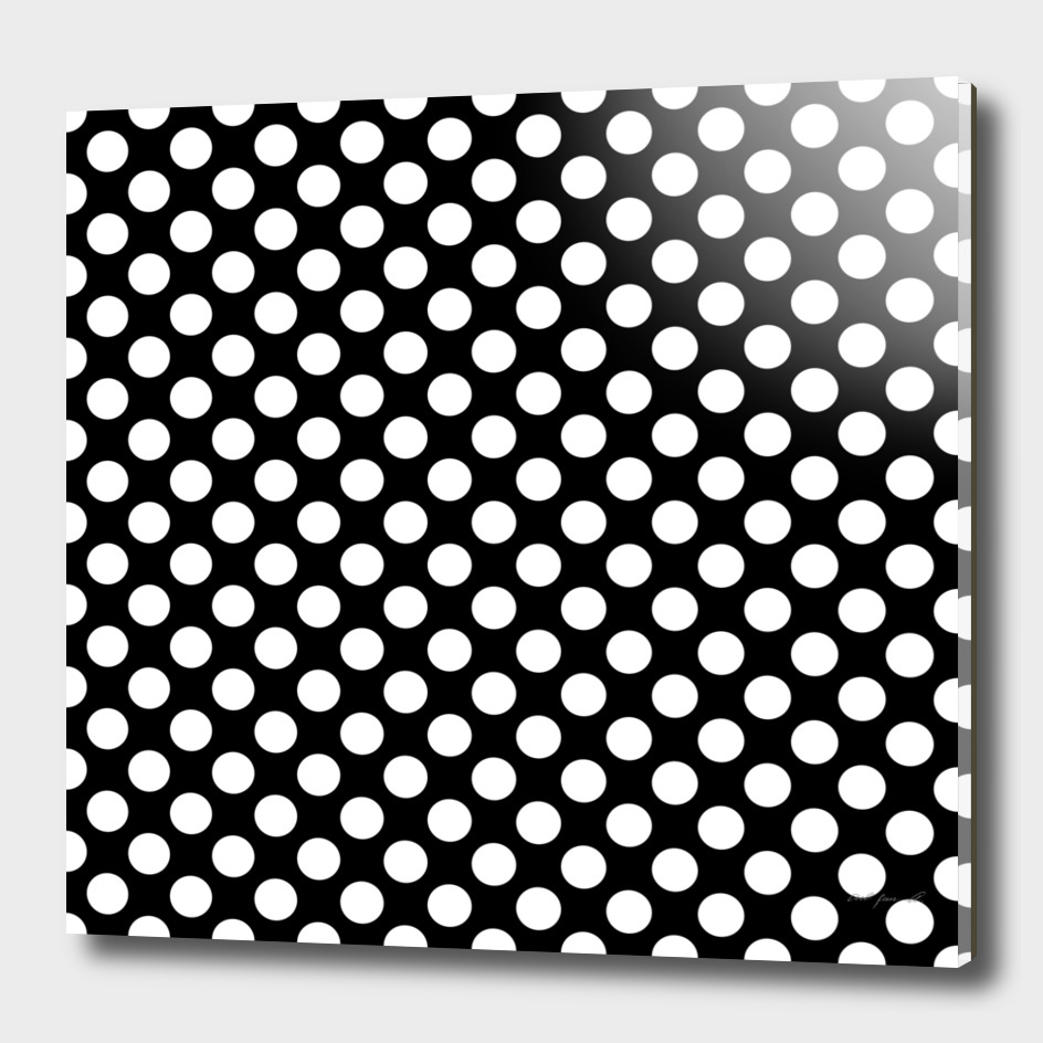 White Polka Dots with Black Background