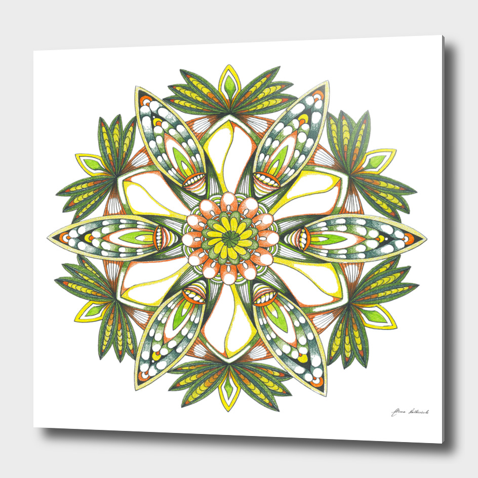 Juicy green orange mandala flower