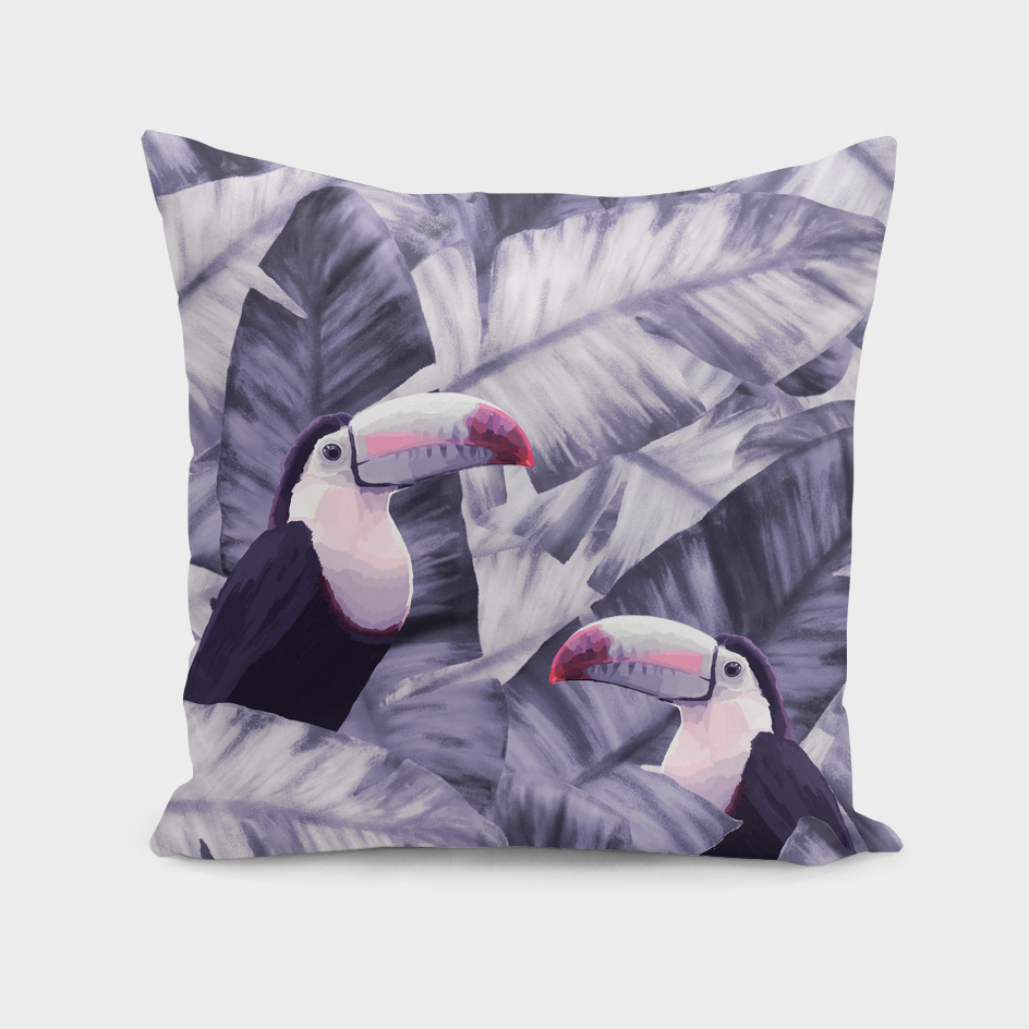 Vintage Violet Toucan Tropical Banana Leaves Pattern