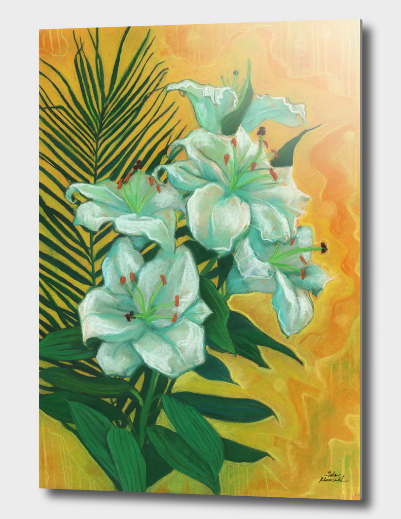 White Lilies and Palm Leaf