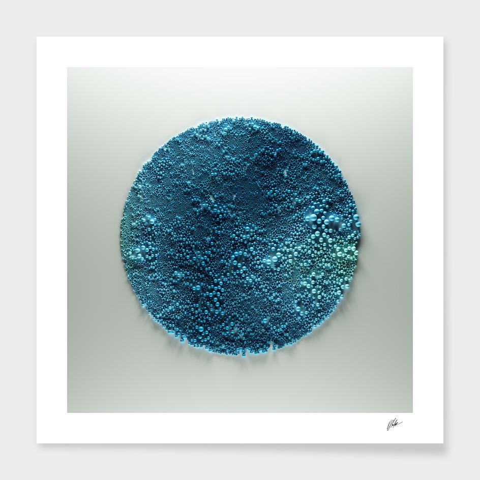 Spheres in Circle. Blue.